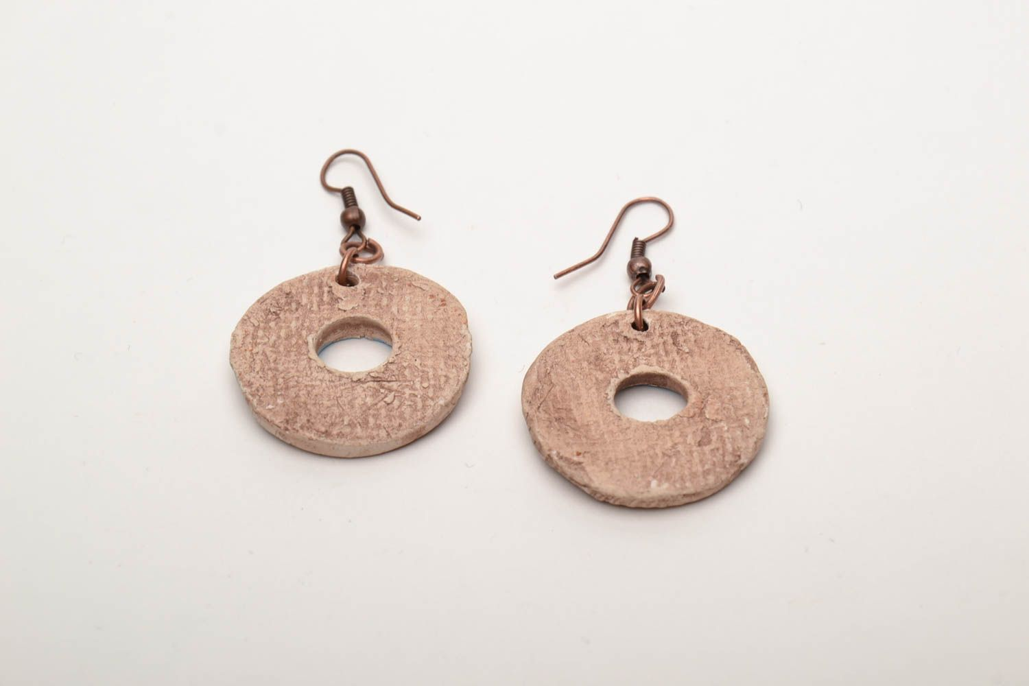 Round clay earrings photo 5