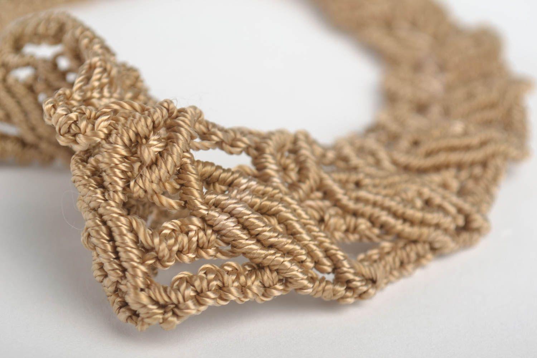 Beautiful brown necklace stylish textile accessory handmade designer nekcace photo 3