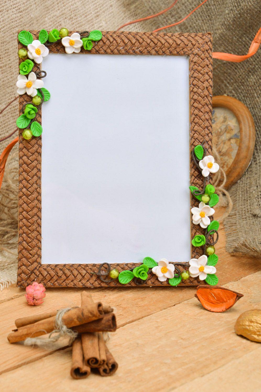 MADEHEART > Marco de fotos artesanal con flores de arcilla ...