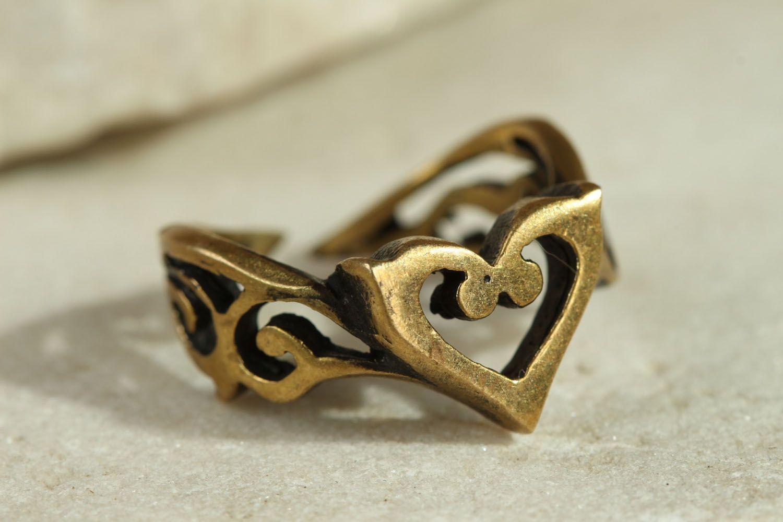 Bronze ring Heart photo 1
