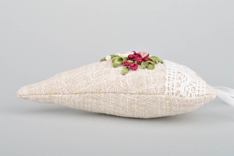 Unusual handmade designer linen fabric interior hanging sachet pillow with aroma photo 5