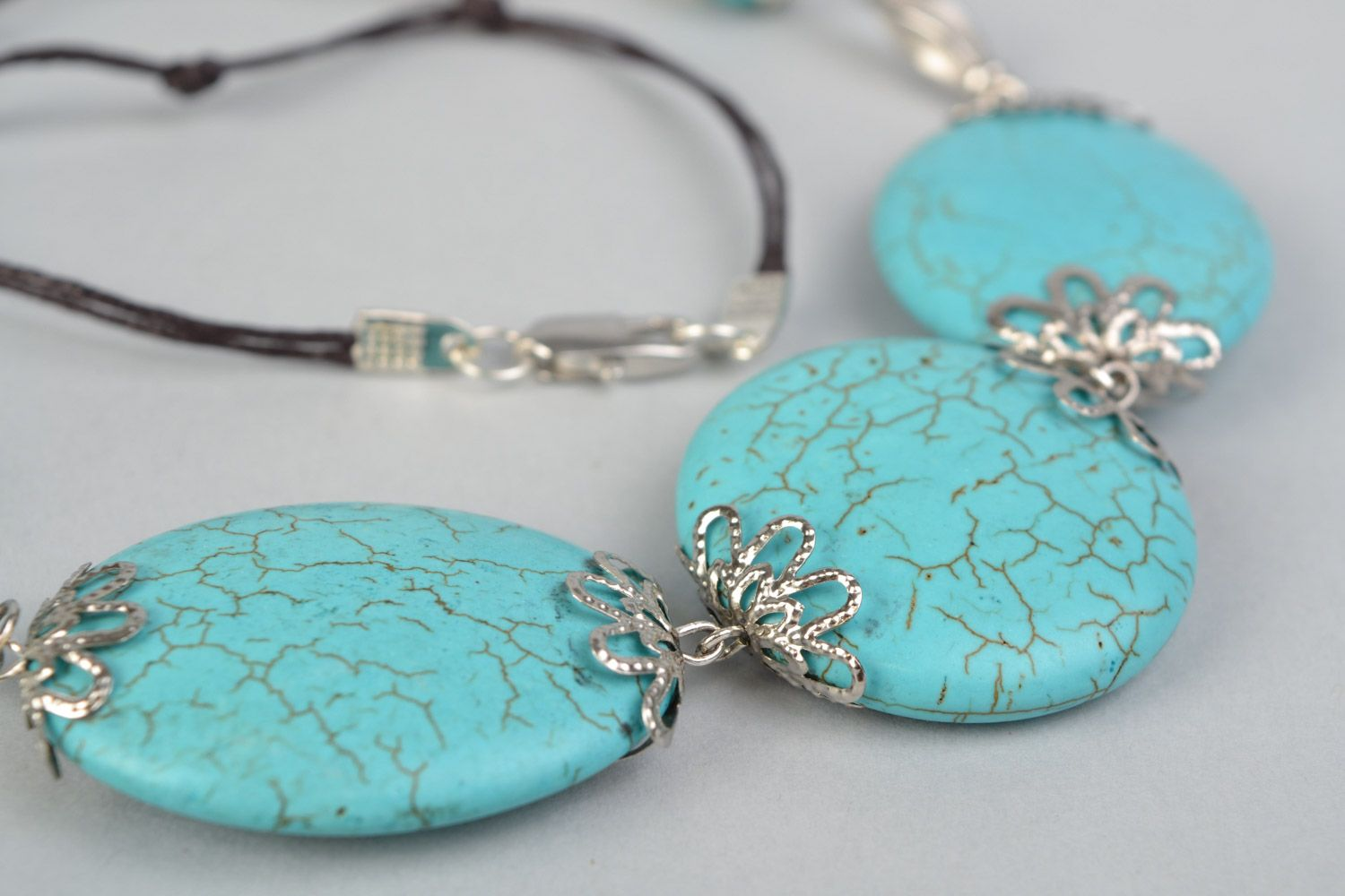 Handmade designer women's necklace with natural turquoise and on waxed cord  photo 4
