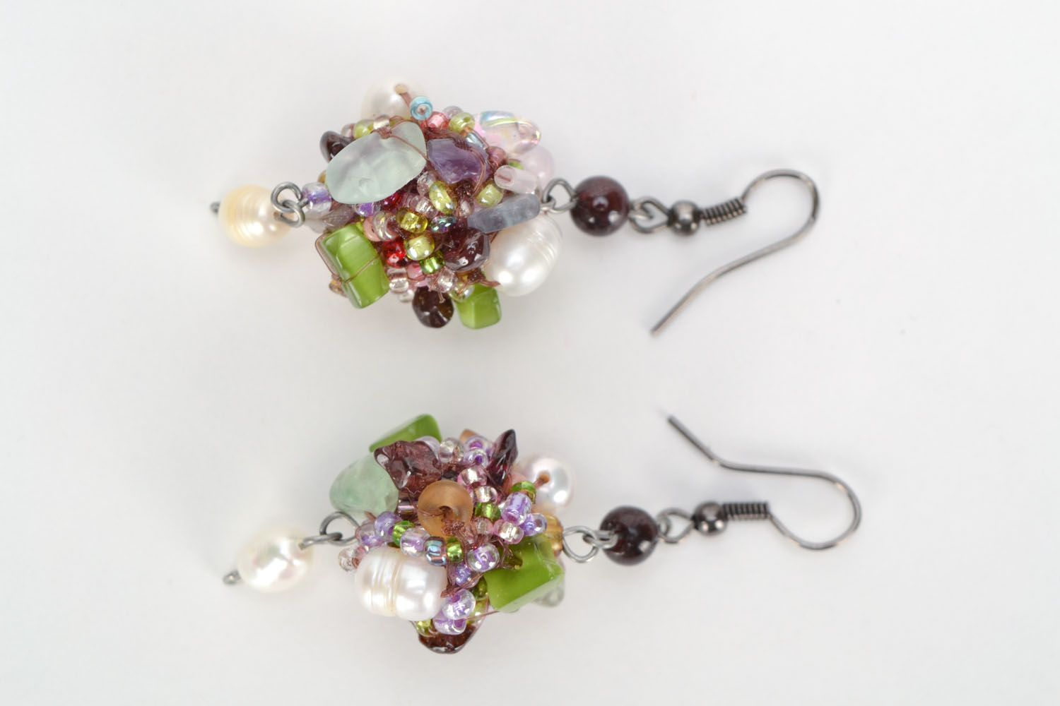 Homemade earrings with river pearls and natural stones photo 2