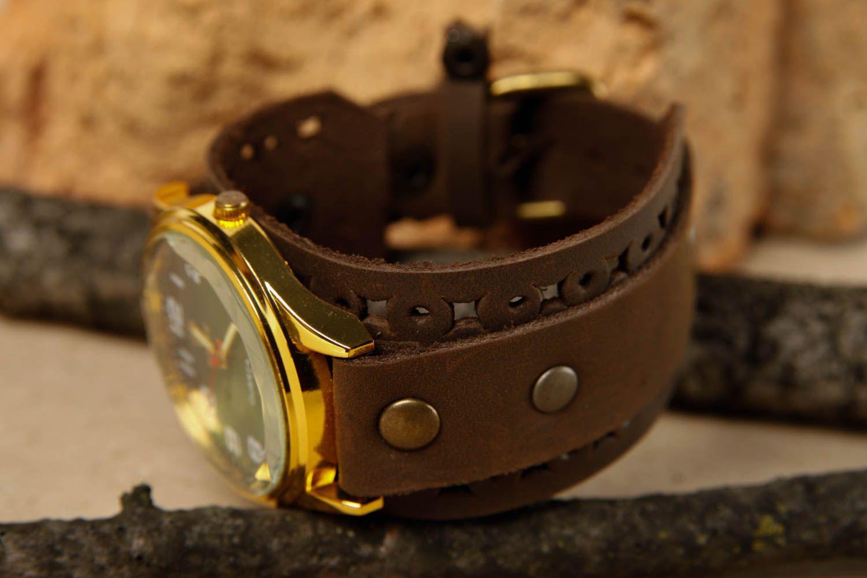 Handmade leather bracelet stylish watch on wristlets unusual designer jewelry photo 1