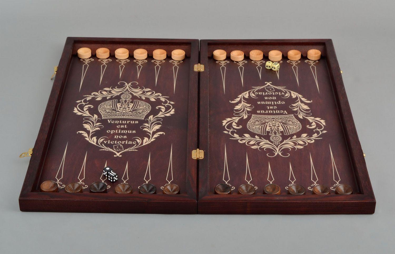 Handmade wooden backgammon photo 3