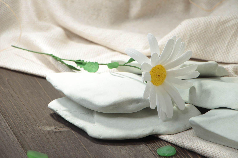 Unusual handmade decorative flower created of plastic suede Camomile photo 1