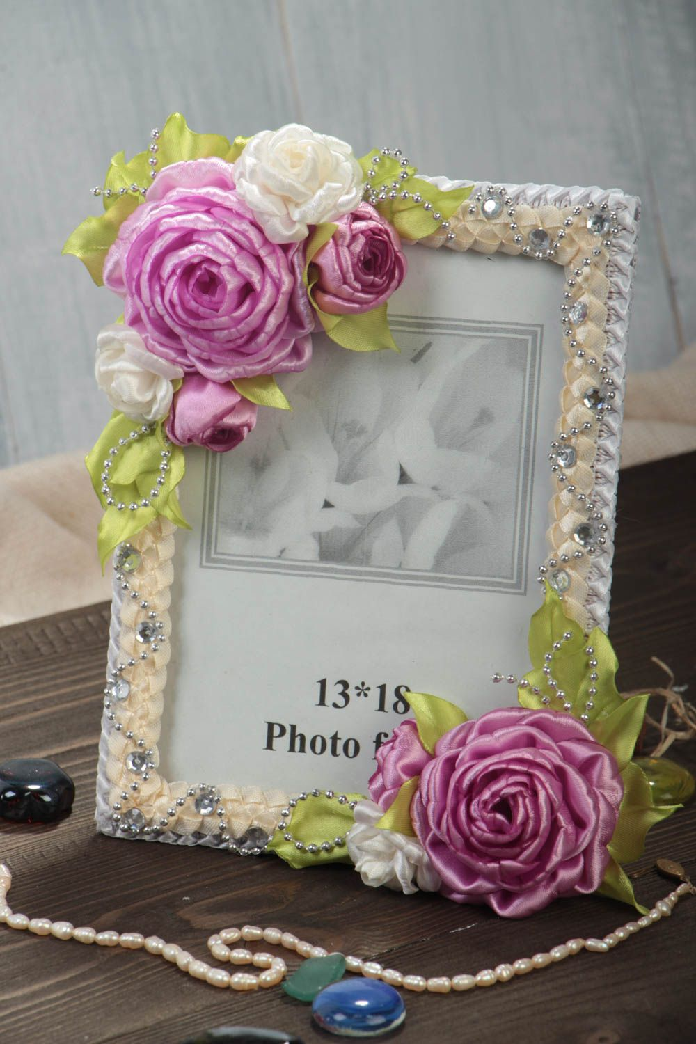 Handmade wooden photo frame with textile flowers interior decorating gift ideas photo 1