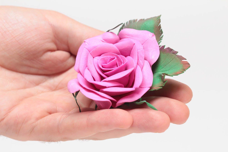 Gentle pink handmade designer foamiran fabric flower brooch Rose photo 5