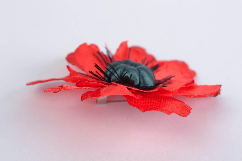 Handmade designer bright satin ribbon flower brooch Red Poppy present for women photo 5