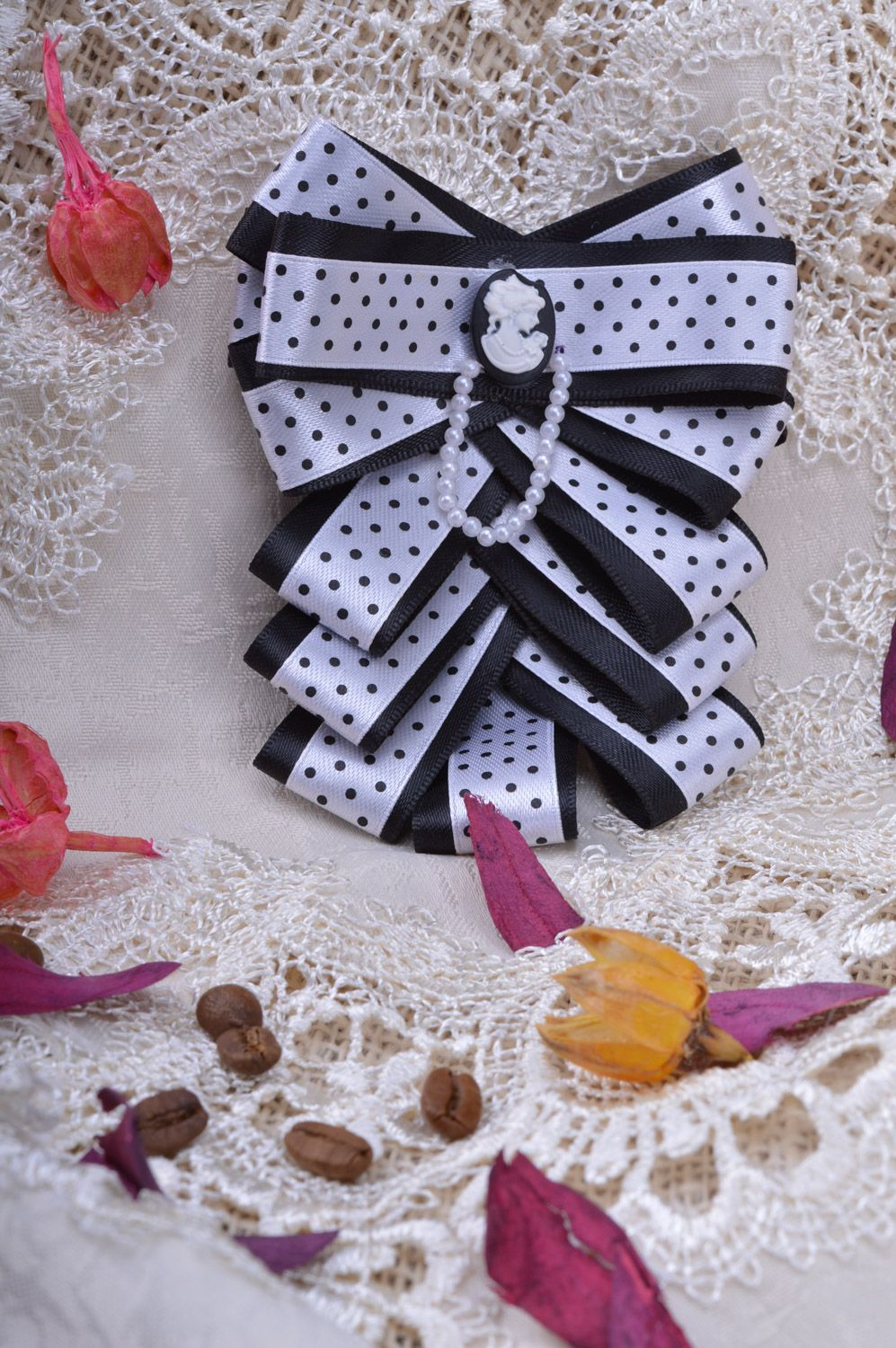 cameo brooches Handmade volume black and white ribbon jabot brooch with beads and cameo - MADEheart.com