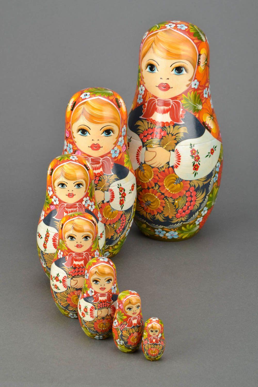 Wooden nesting doll in Ukrainian style photo 3