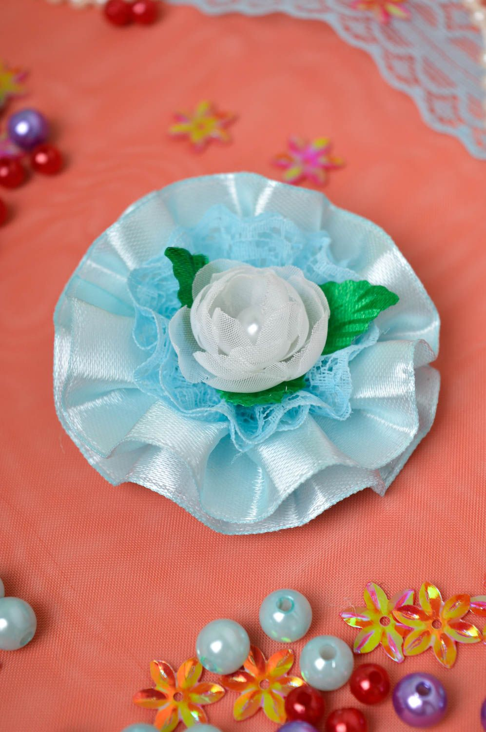 Beautiful handmade flower barrette textile hair clip hair accessories for kids photo 1