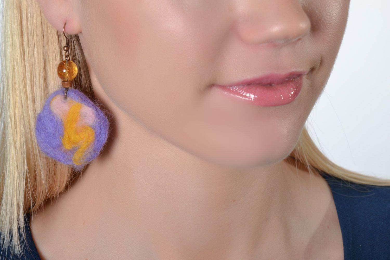 Wool felt earrings photo 2