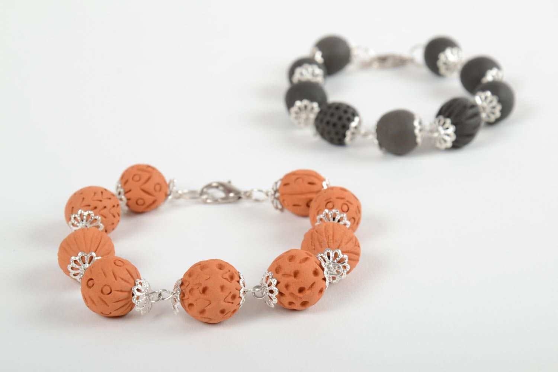Set of 2 handmade beaded bracelets ceramic bracelets fashion accessories photo 5