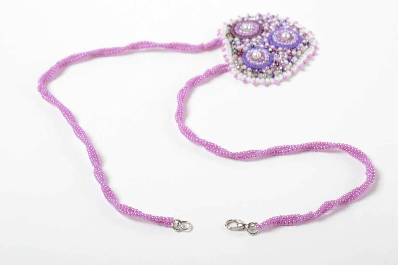 Unusual handmade beaded pendant stylish pendant woven of beads fashion accessory photo 3