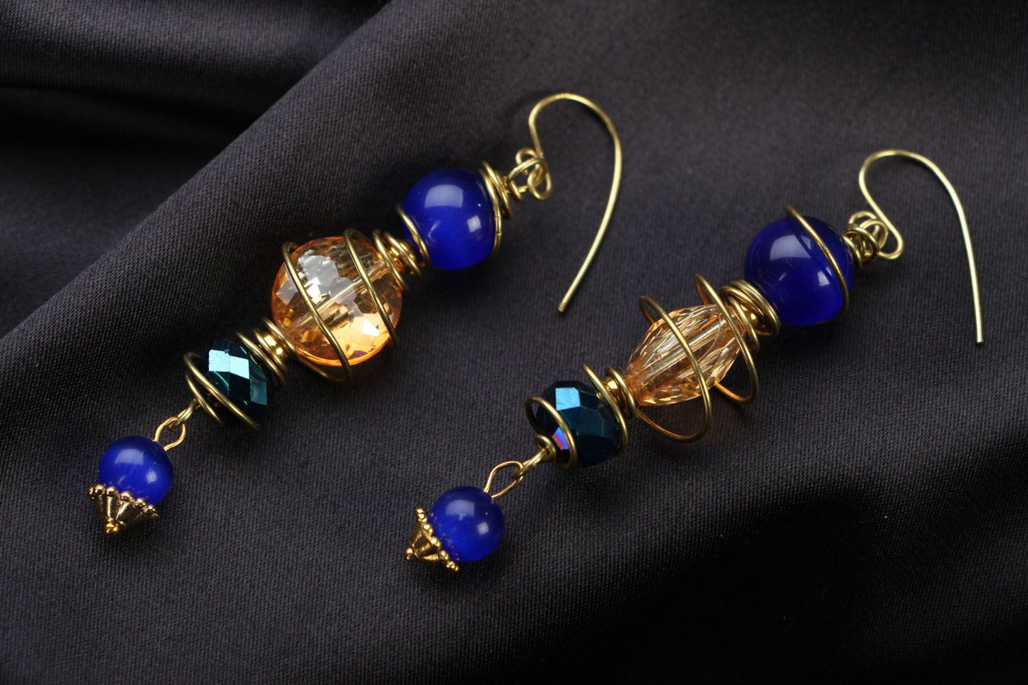 Metal earrings with natural stones photo 1