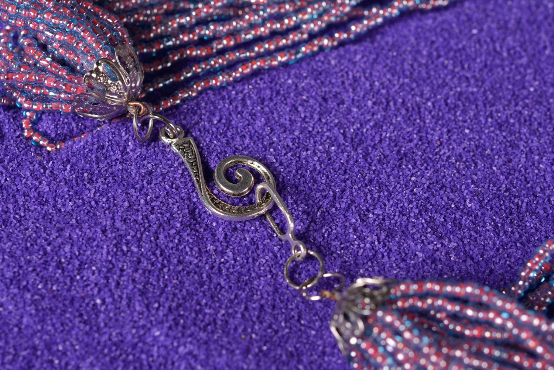Колье из бисера украшение ручной работы многорядное ожерелье из бисера фото 4