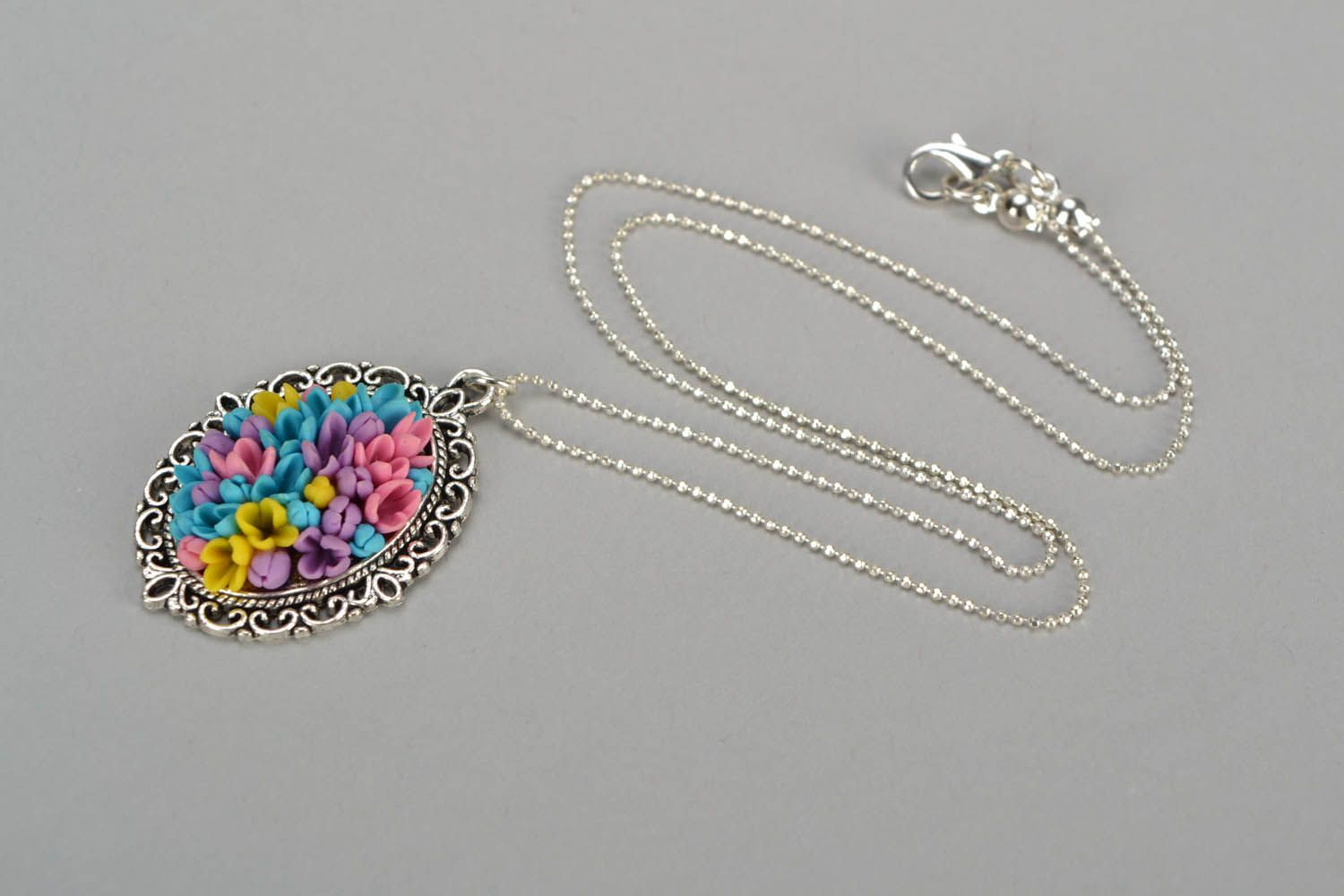 polymer clay jewelry Pendant with long chain