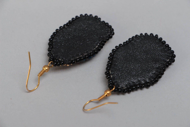 Large handmade designer woven beaded earrings on leather basis photo 4
