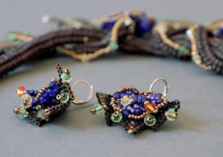 "15f109e674fe Set de joyas de abalorios checos y japoneses, piedras Swarovski ""Reina  Hatshepsut"""