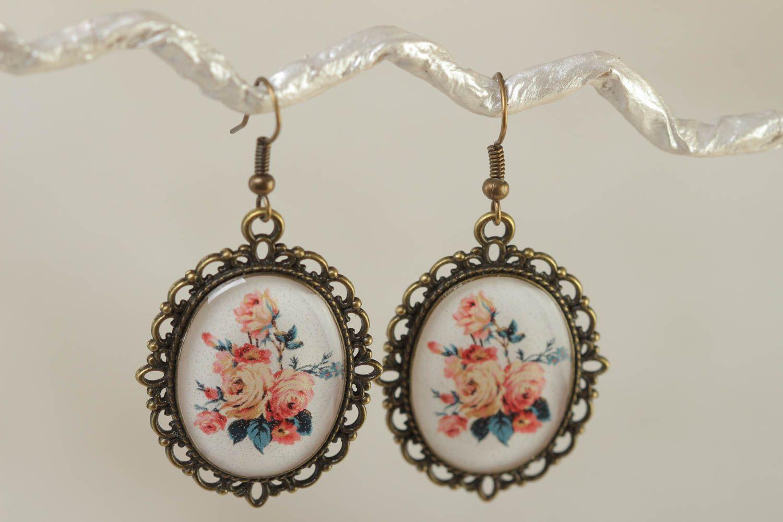 Ovale schöne handmade Ohrringe aus Kaltglasur im Vintage Stil mit Blumen handmade foto 1