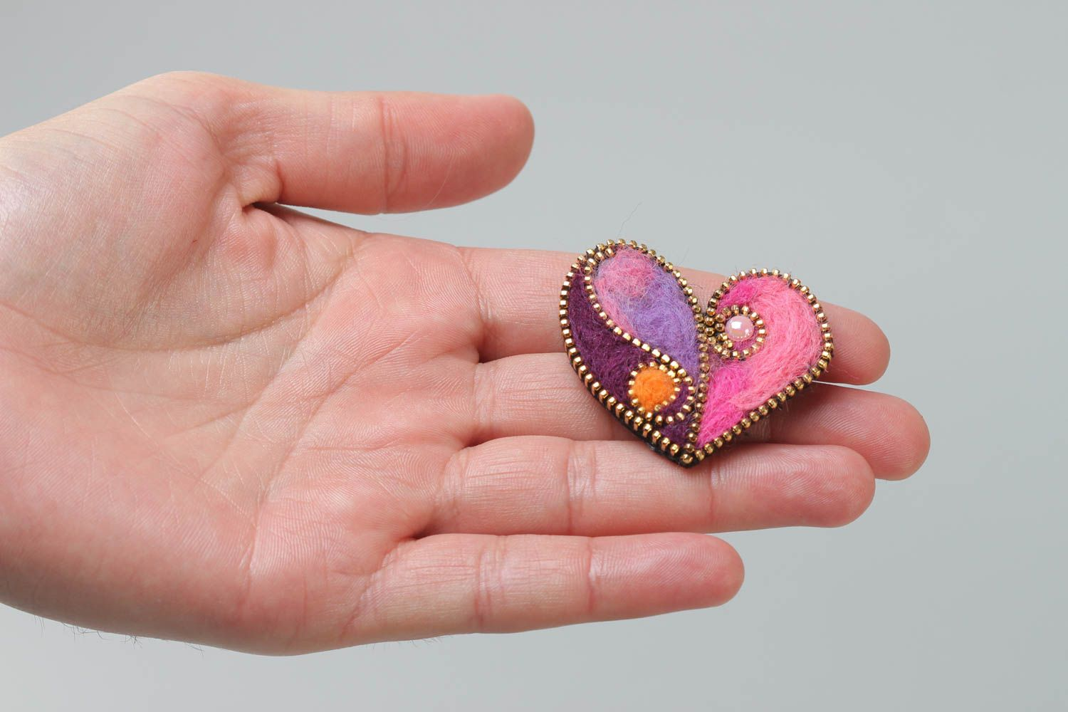 Bright brooch with zipper decor made of felted wool Heart present for girl photo 5