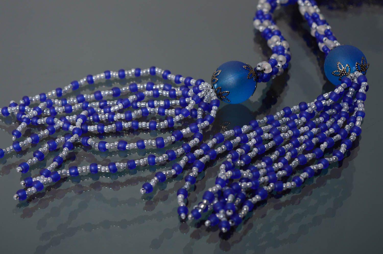 Лариат пояс из бисера синий фото 5