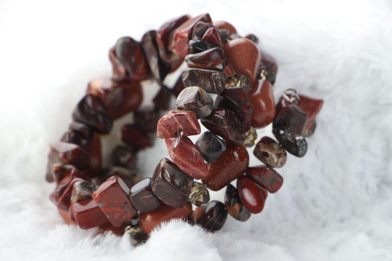 Multi-row bracelet with jasper and aventurine  photo 3