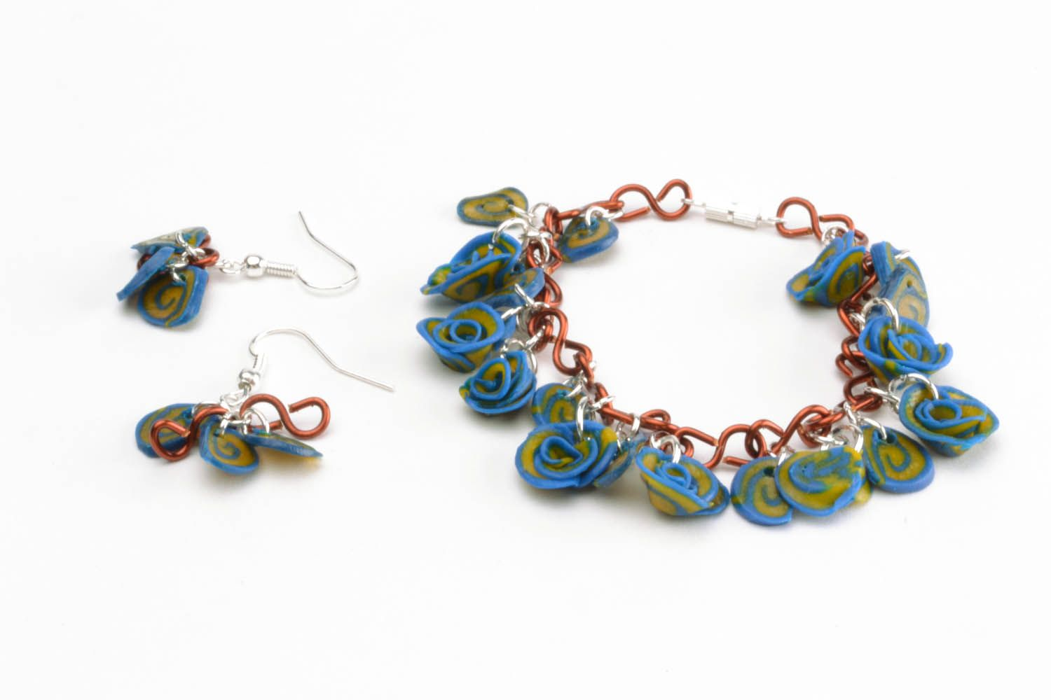 Polymer clay earrings and bracelet photo 2