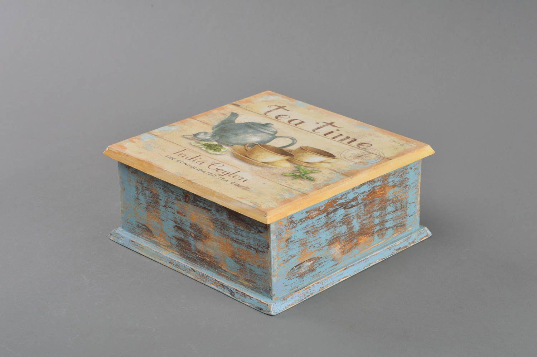 Madeheart caja de madera para t bonita hecha a mano en - Cajas decoradas a mano ...