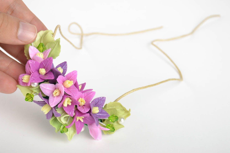 Schmuck Collier handmade Damen Halskette Halsschmuck für Damen mit Blumen lila foto 5
