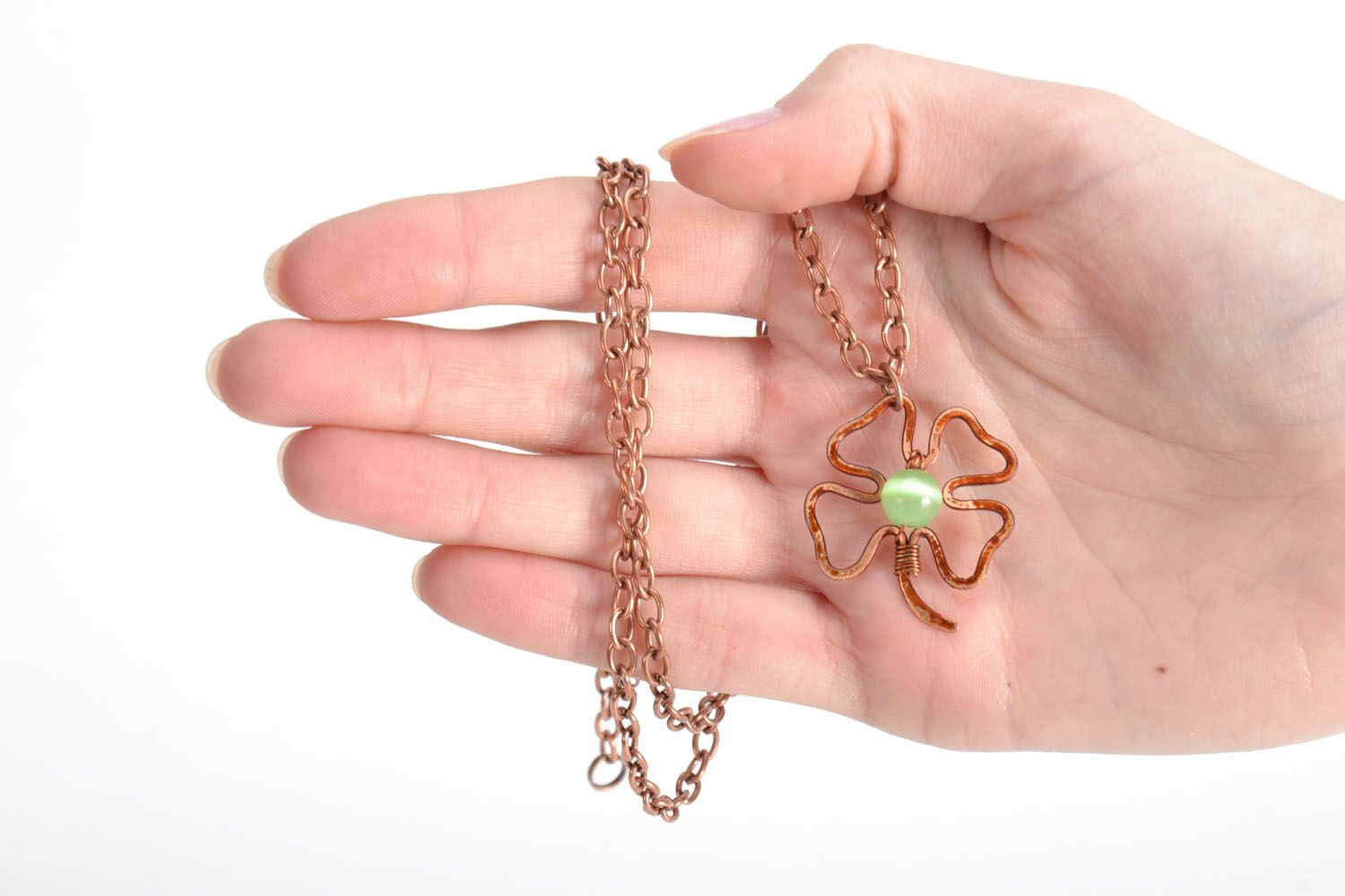 Copper pendant Clover photo 5