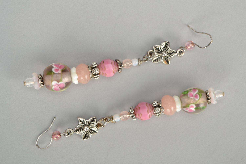 Pink glass earrings photo 3
