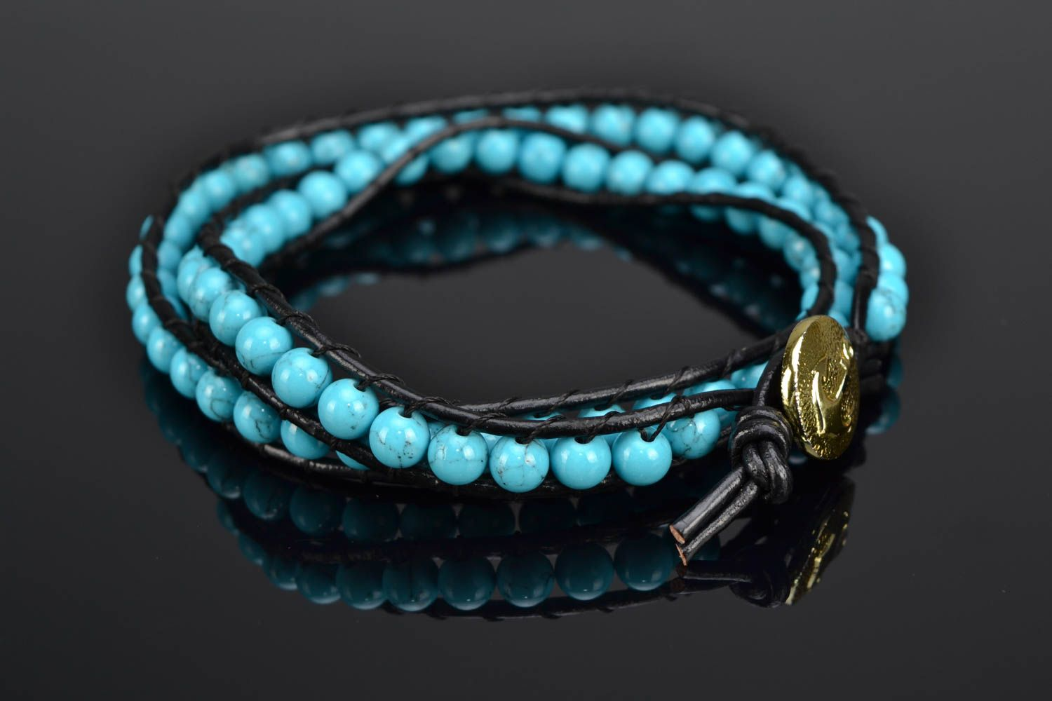 Natural turquoise bracelet photo 1