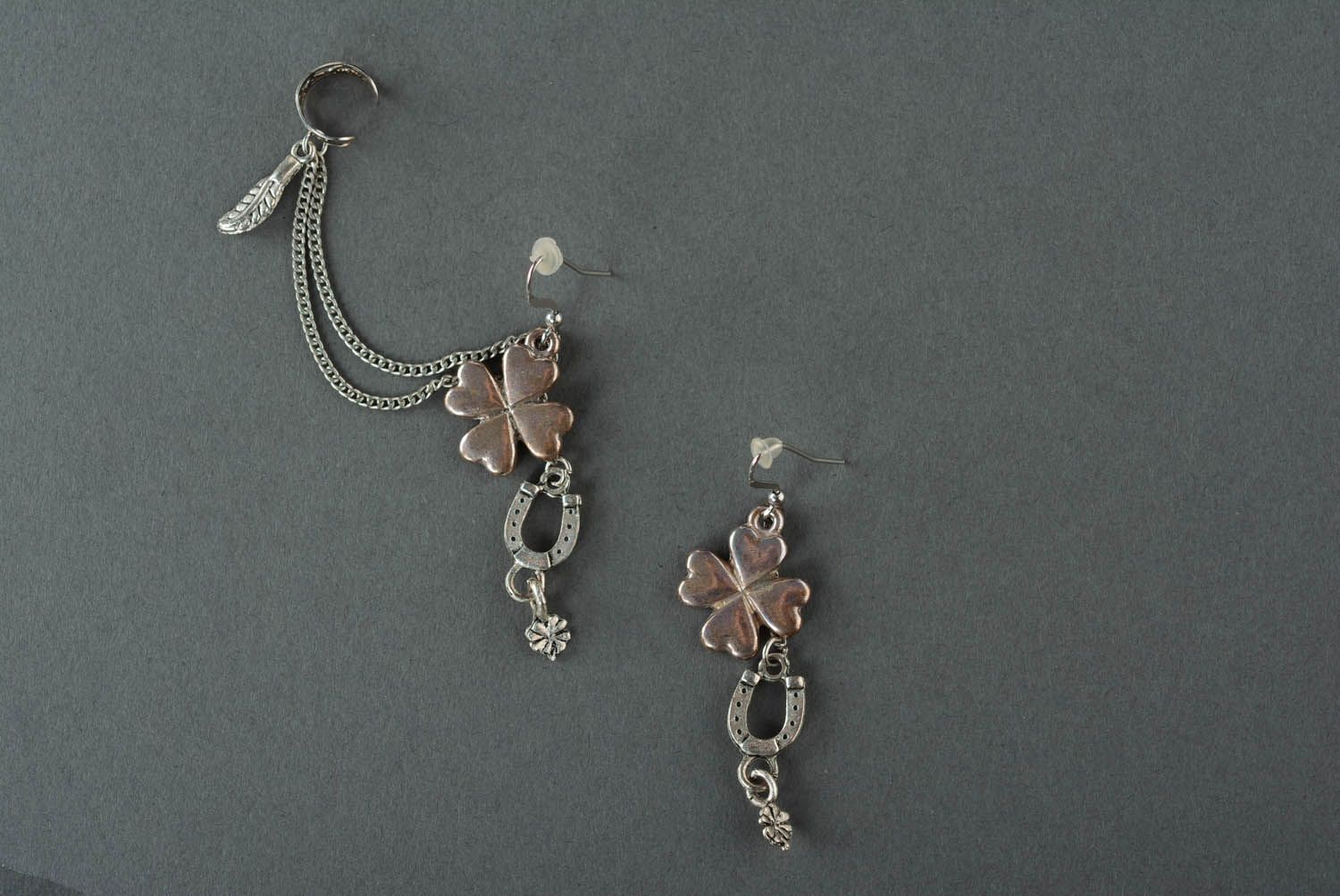 Metal cuff earrings Clover for Good Luck photo 2