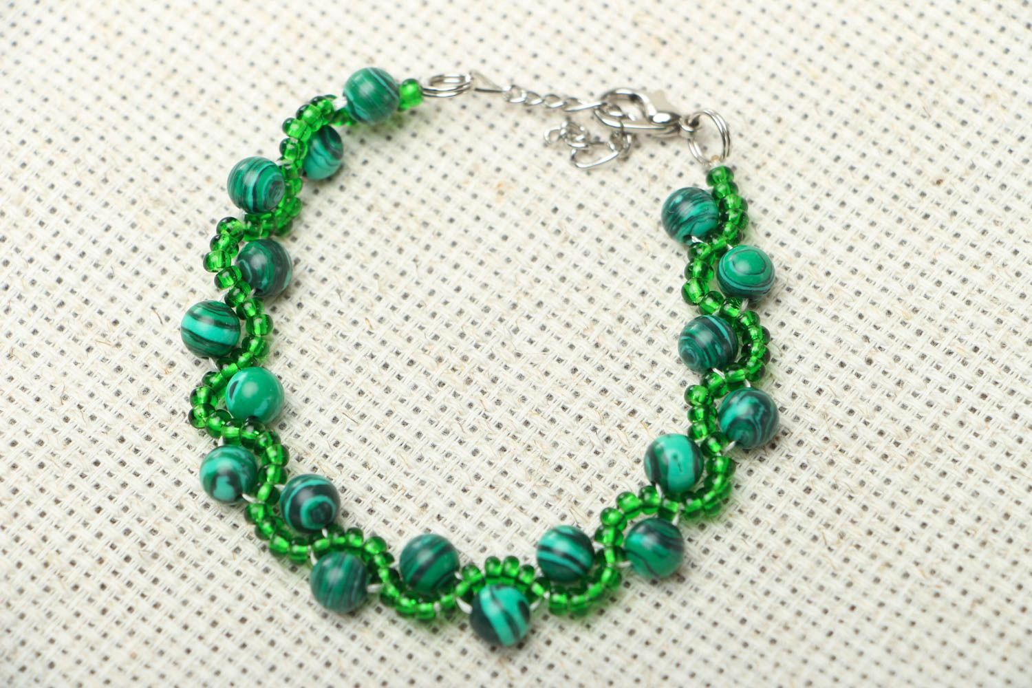 Malachite stone bracelet photo 1
