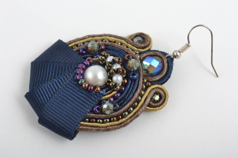 Большие серьги украшения ручной работы сутажные серьги с чешским стеклом синие фото 3