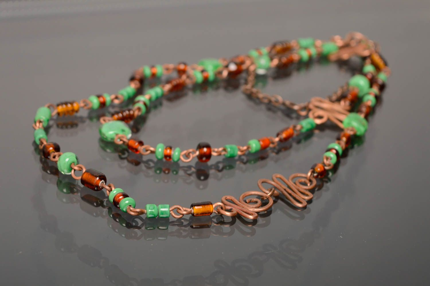 Wire wrap necklace-belt with designer lampwork beads Miria photo 2