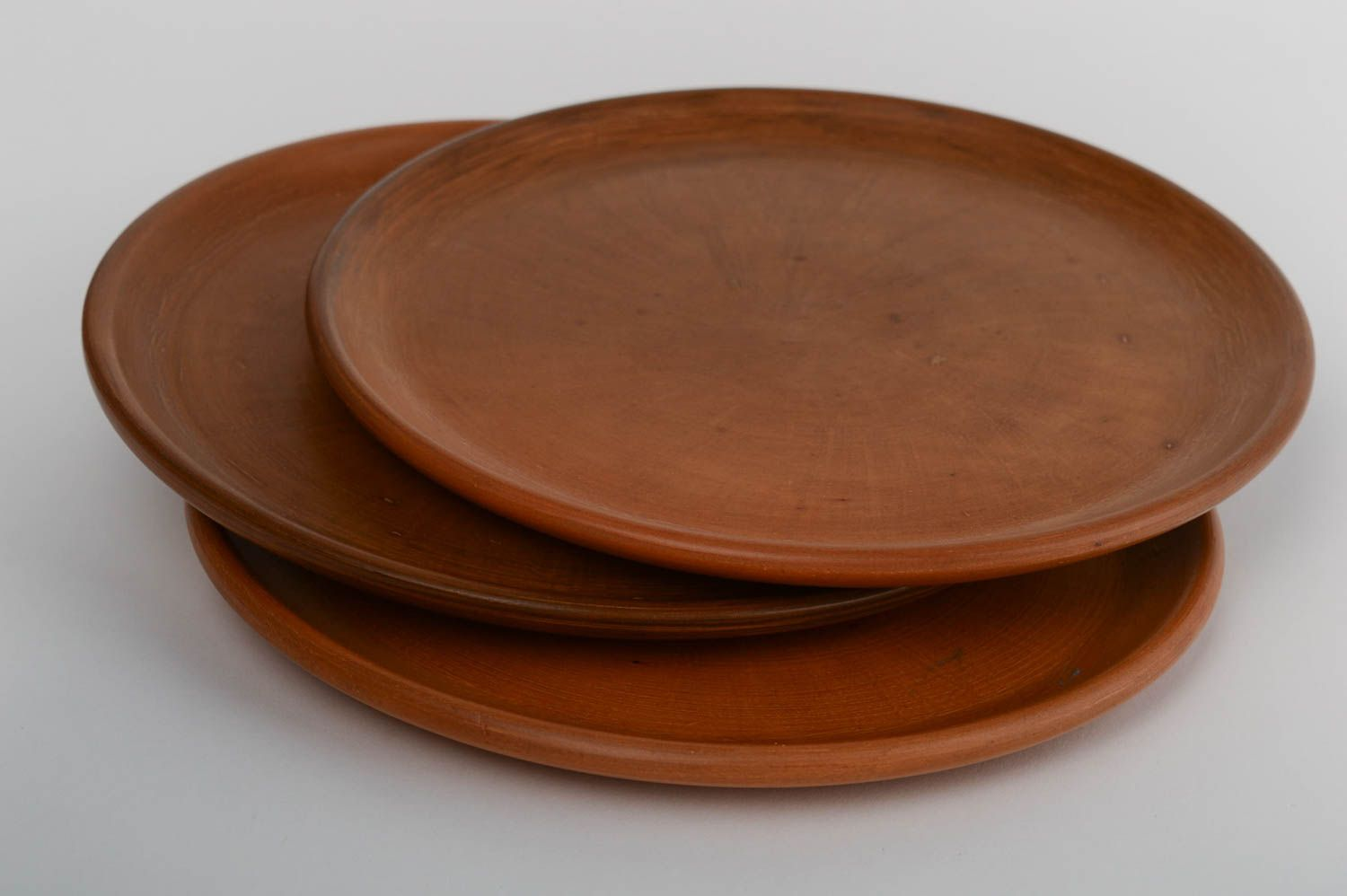 dishwear Set of handmade blue clay plates made using terracotta technique large 3 pieces - MADEheart & MADEHEART \u003e Set of handmade blue clay plates made using terracotta ...