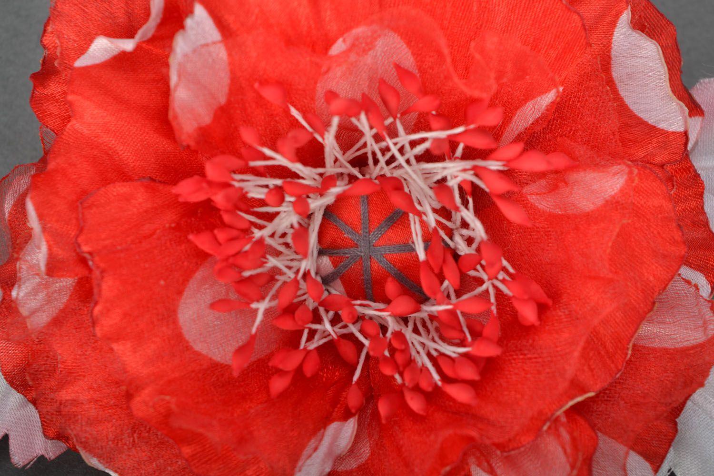 Handmade brooch Scarlet Flower photo 3