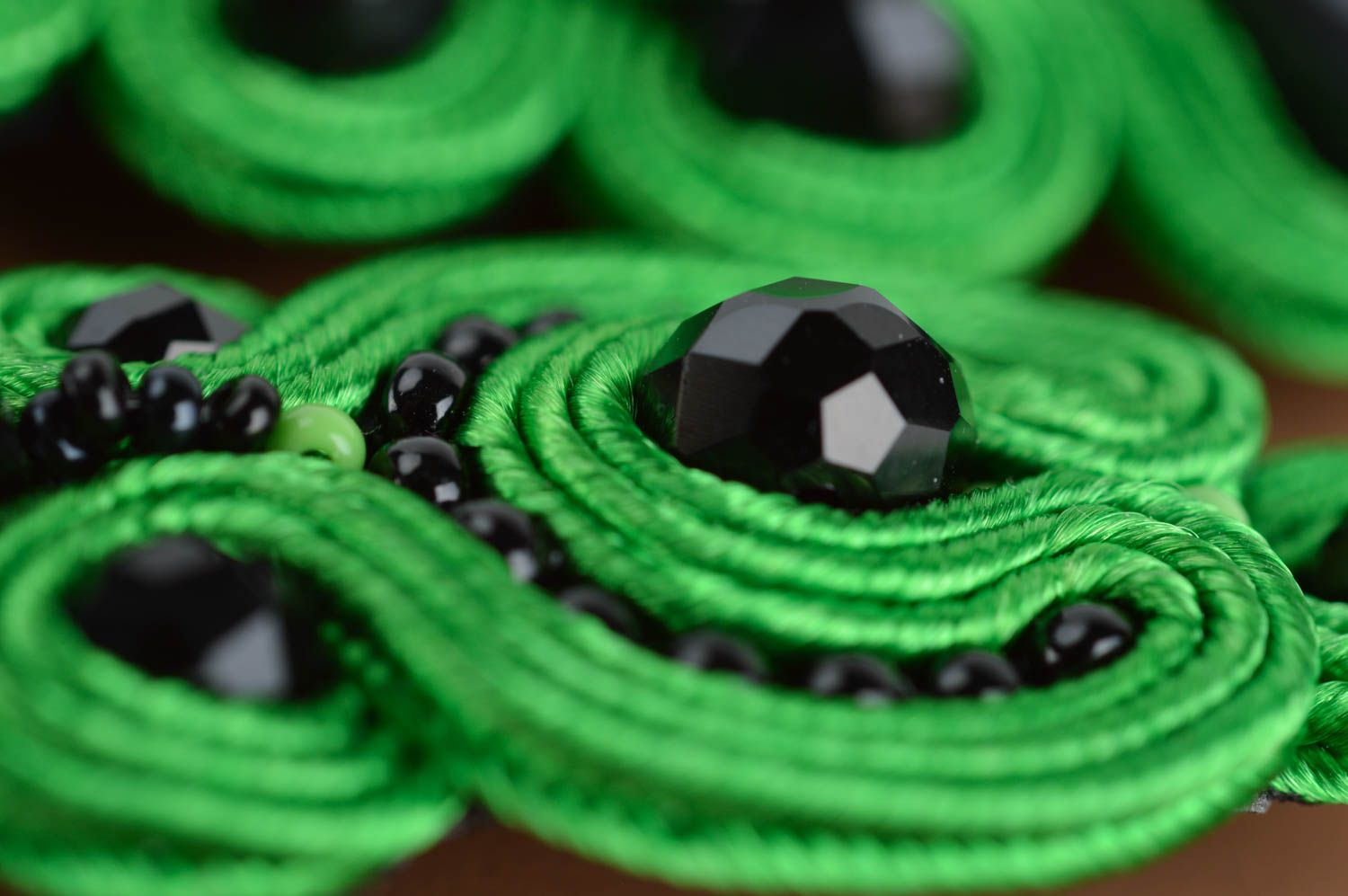 Handmade massive evening green and black soutache necklace with Czech beads photo 4
