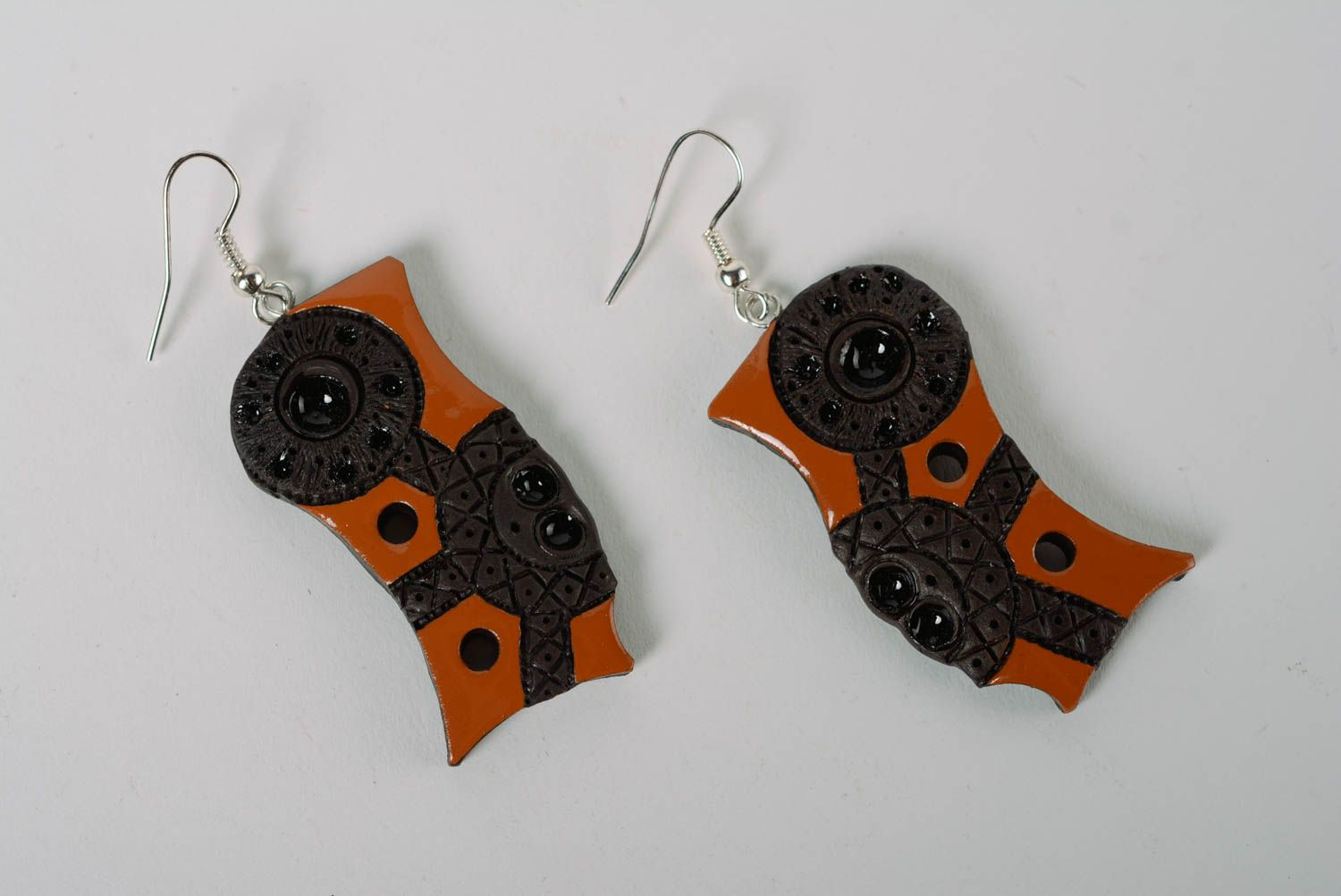 dangle earrings Handmade women's designer clay earrings painted with color enamels - MADEheart.com