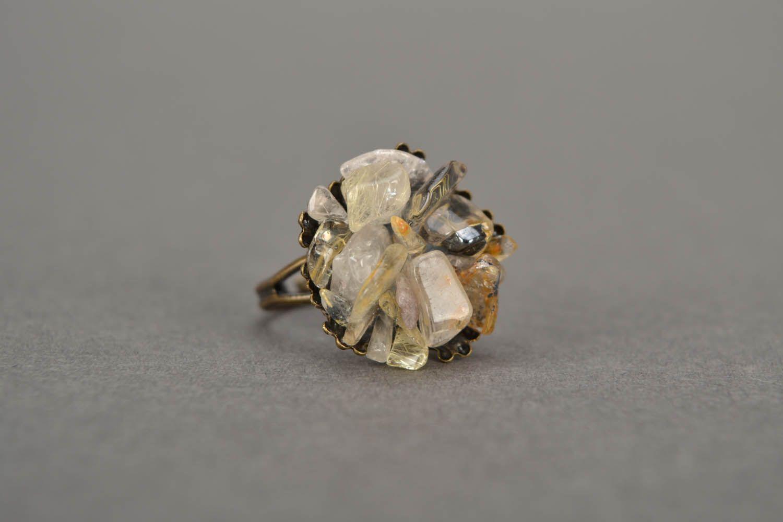Metal ring with quartz  photo 4