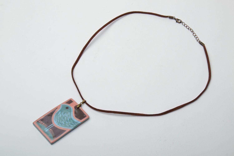 Interesting ceramic pendant on cord photo 5