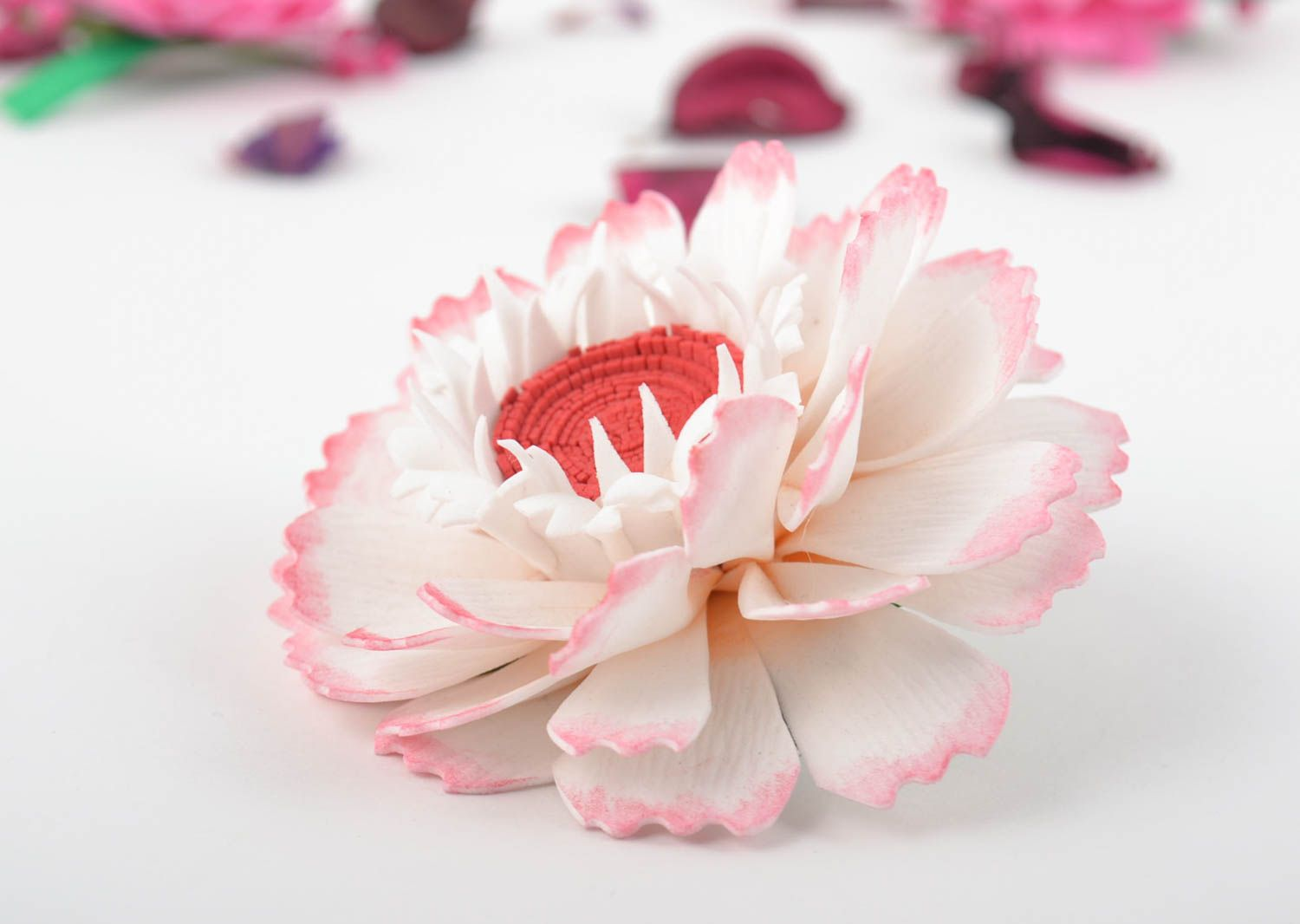 Beautiful homemade textile flower hair clip foamiran flower barrette gift ideas photo 1