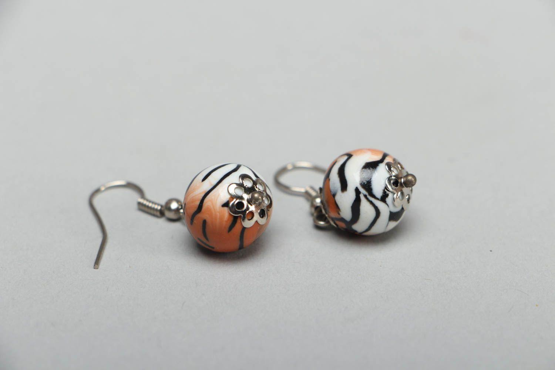 Handmade Ohrringe aus Polymerton Tiger  foto 1