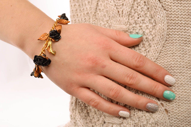 Polymer clay bracelet Black Roses photo 5