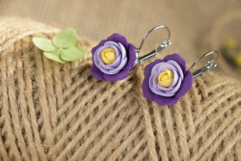Handmade purple earrings  photo 3