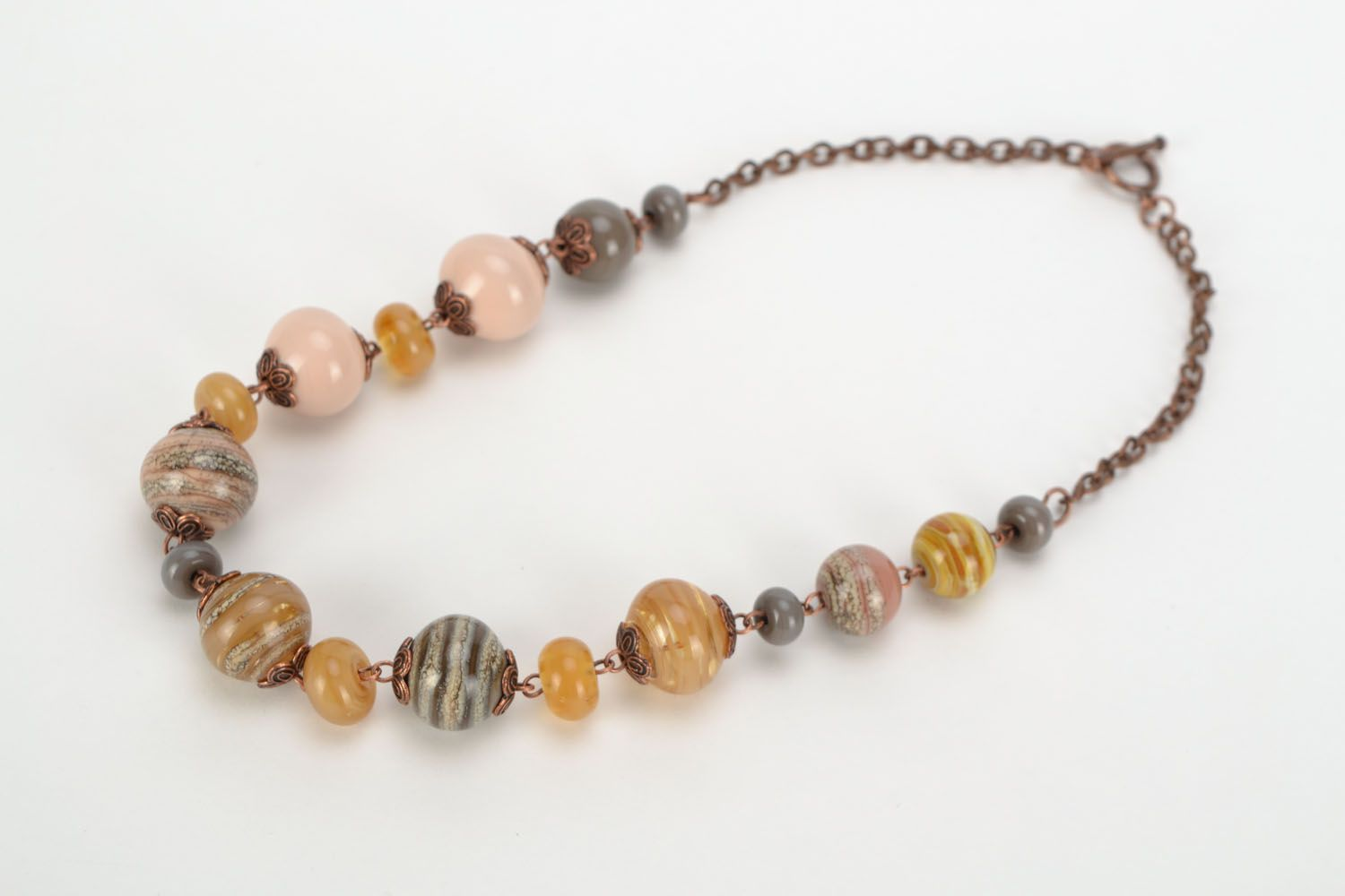 Lampwork glass bead necklace photo 3