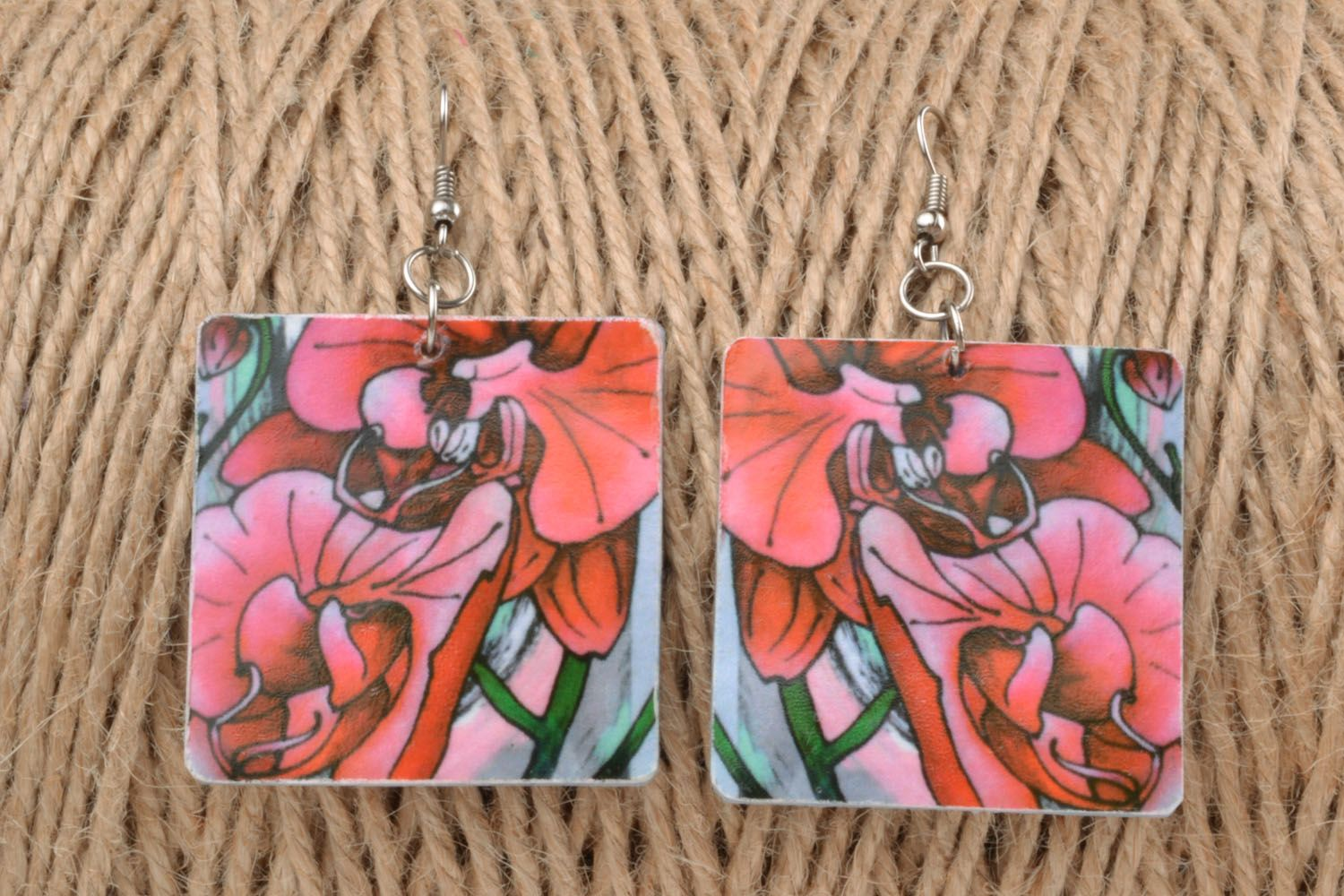 Colourful earrings made of polymer clay photo 1